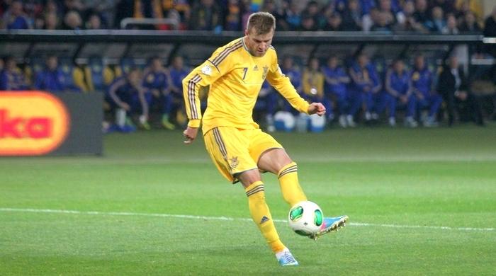 Андрей Ярмоленко вышел на чистое второе место в списке бомбардиров сборной Украины