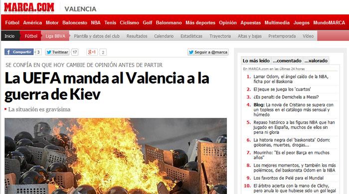 """Marca: УЕФА посылает """"Валенсию"""" на войну в Киев"""