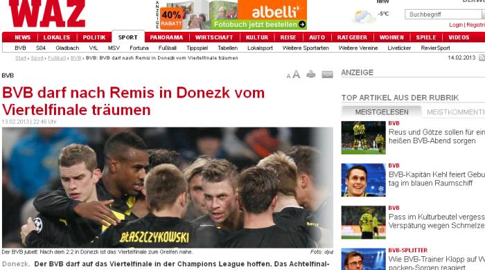 Немецкая пресса о матче шахтер боруссия
