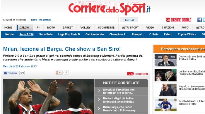 """""""Милан"""" - """"Барселона"""". Обзор итальянской и испанской прессы"""