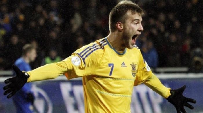 Андрей Ярмоленко стал автором второго хет-трика в истории сборной Украины