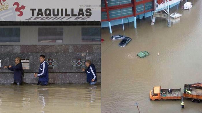 Стадион испанского клуба пострадал от наводнения (Видео)