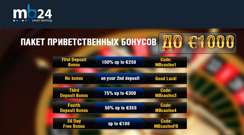 Пакет бонусов до €1000 от MB24 Casino