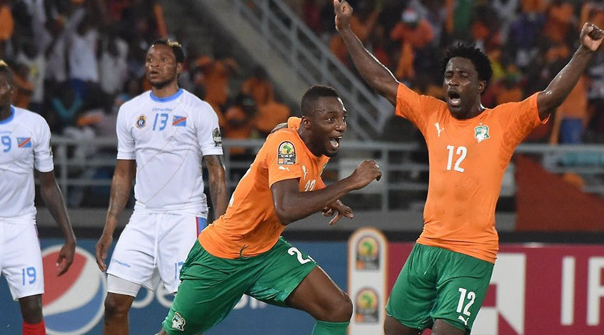 Кубок Африки. 1/2-я финала. ДР Конго - Кот-д'Ивуар 1:3. Мбокани забивает, но проигрывает