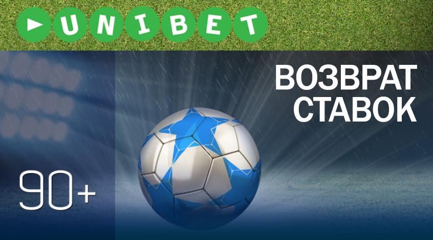 """Акция-возврат """"90+"""" от Unibet"""