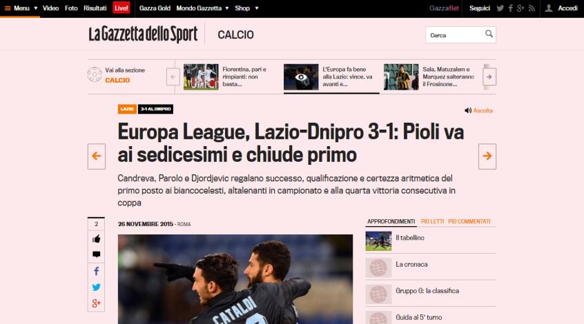 """""""Лацио"""" – """"Днепр"""". Обзор итальянской прессы"""