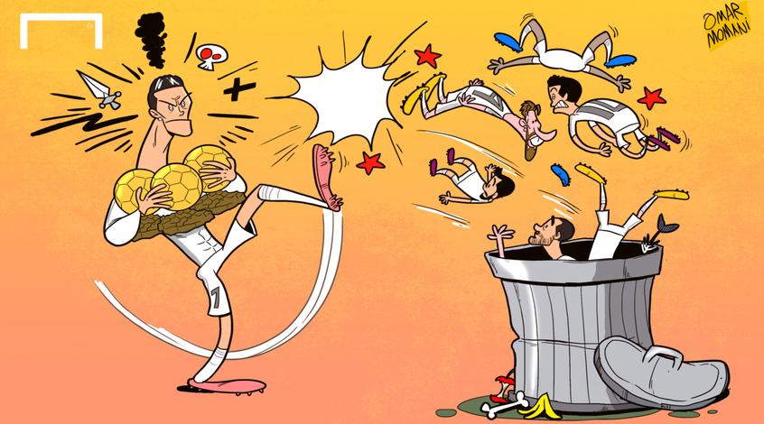 Футбол в карикатурах: эгоизм Роналду, шаманы из Мадрида и симуляция ван Гаала (+ Фото)