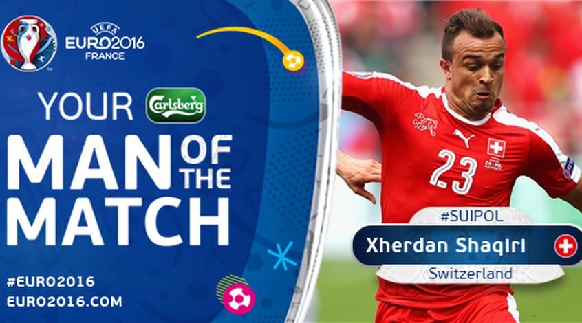 Швейцария - Польша: Чердан Шакири - лучший игрок матча