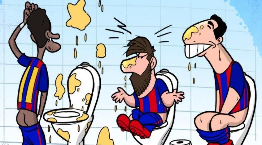 """Футбол в карикатурах: поход в туалет """"Барселоны"""", атака жены Икарди и план Гвардиолы (Фото)"""