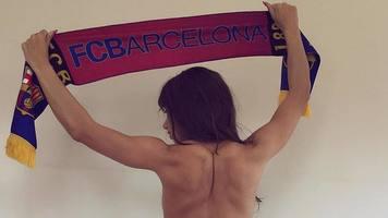 """Болельщица """"Барселоны"""" обнажилась в честь победы клуба в Кубке Испании (Фото)"""