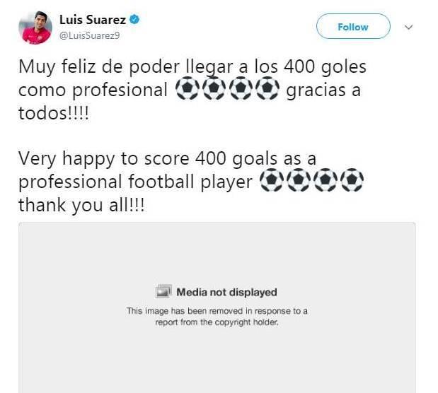 Луис Суарес не смог опубликовать в твиттере своё фото в связи с отсутствием авторских прав - изображение 1