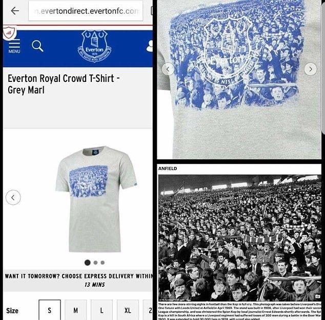 """""""Эвертон"""" убрал из продажи футболку с изображением фанатов """"Ливерпуля"""" (Фото) - изображение 1"""