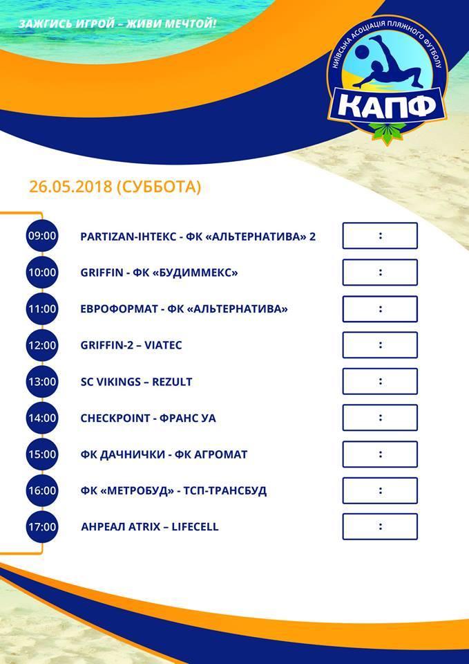 Чемпионат Киева по пляжному футболу. Расписание 1-го тура - изображение 1