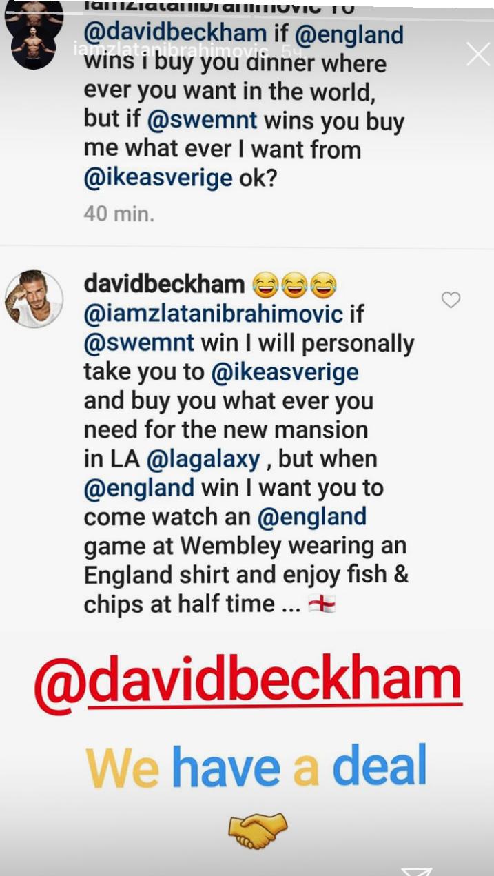 Дэвид Бекхэм и Златан Ибрагимович заключили пари на матч Швеция - Англия - изображение 1