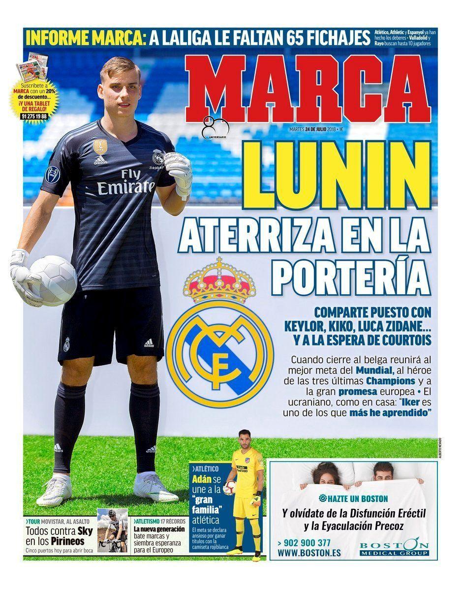 Marca засыпала Андрея Лунина комплиментами на первой странице номера (Фото) - изображение 1