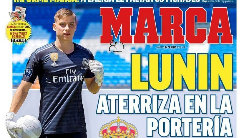 Marca засыпала Андрея Лунина комплиментами на первой странице номера (Фото)