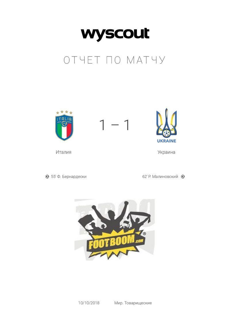 Италия - Украина: цифровой отчёт WyScout - изображение 1