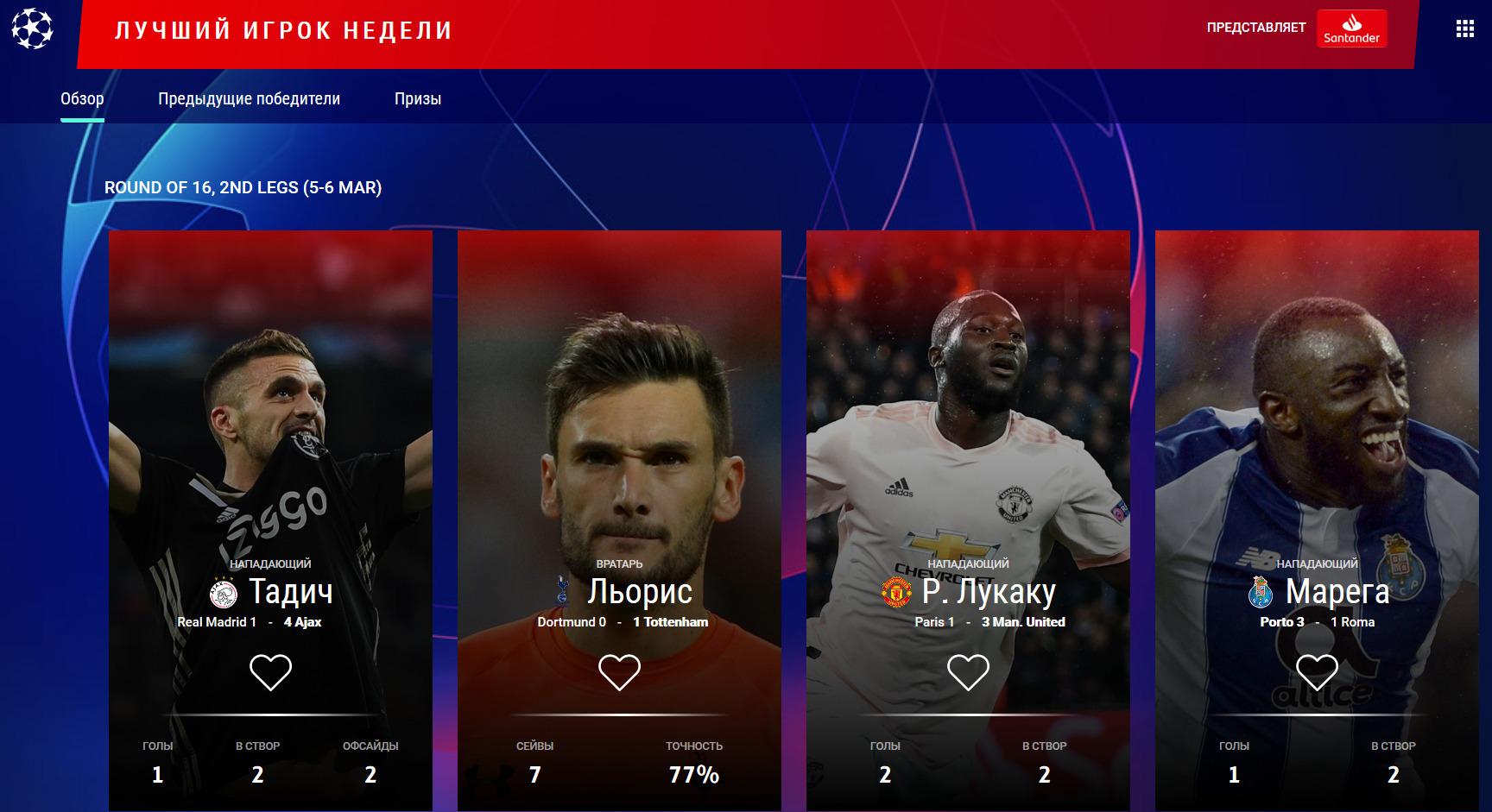 УЕФА назвал претендентов на звание лучшего игрока недели в Лиге чемпионов - изображение 1