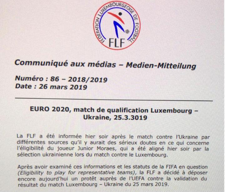 Федерация футбола Люксембурга просит УЕФА пересмотреть результат матча с Украиной - изображение 1