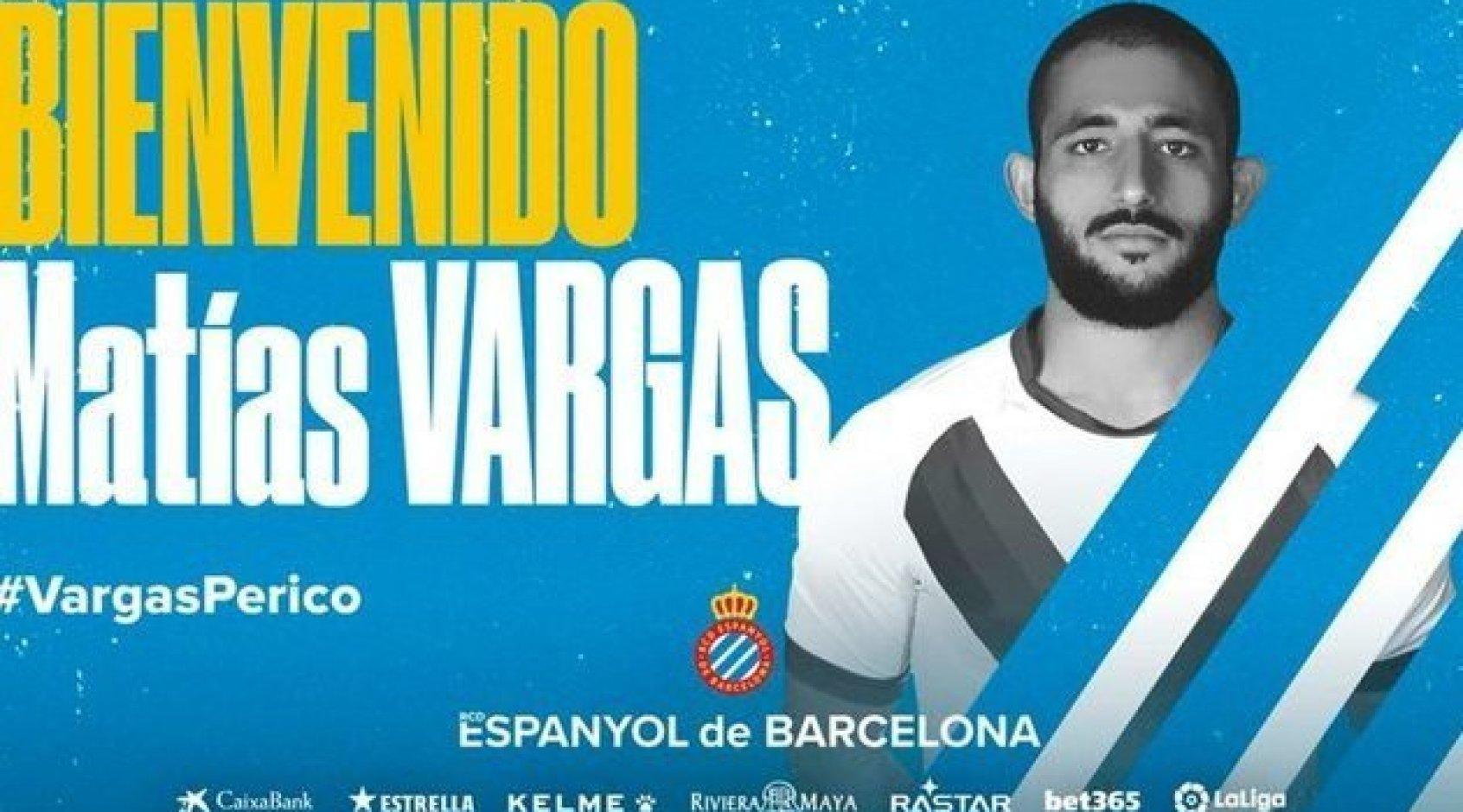 """Официально: """"Эспаньол"""" подписал Матиаса Варгаса, он самый дорогой новичок в истории клуба"""