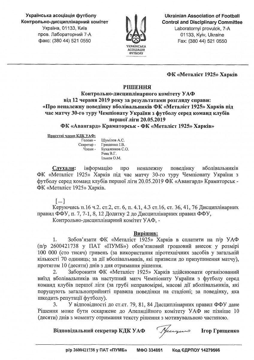 """""""Металіст 1925"""" оштрафували на 100 тисяч гривень за поведінку вболівальників у Краматорську - изображение 1"""
