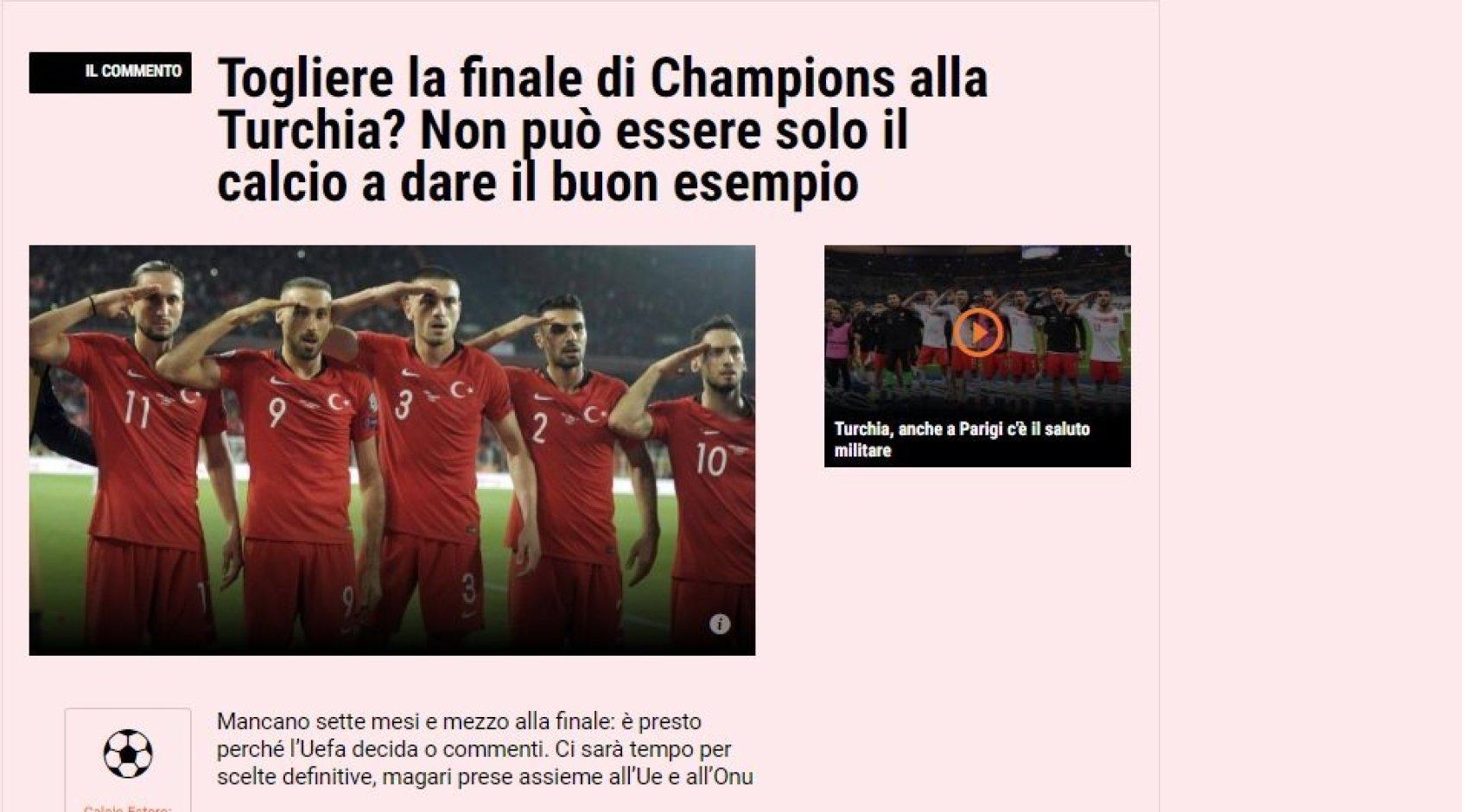 Gazzetta dello Sport: отобрать финал Лиги чемпионов у Турции? Тогда нужно наказывать и Россию