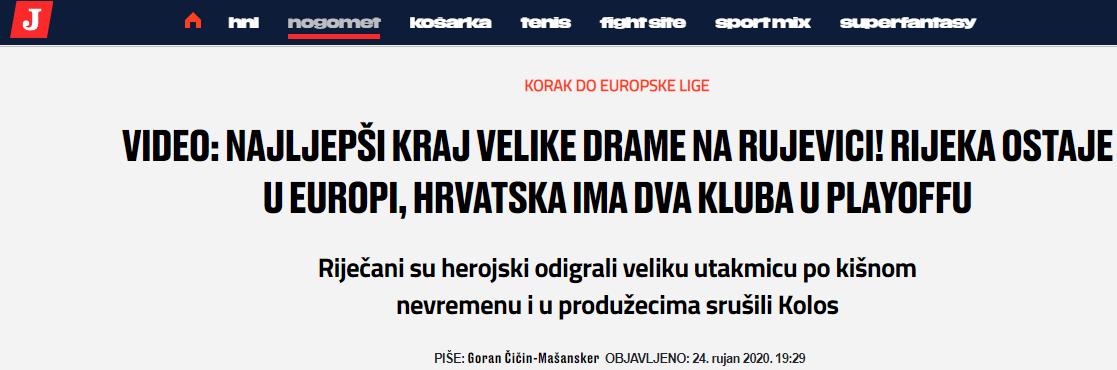 """""""Риека"""" - """"Колос"""": обзор хорватских СМИ - изображение 1"""